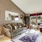 Living room interior in soft mocha color — Stock Photo
