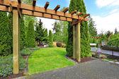 House backyard view. Garden entrance — Stock Photo