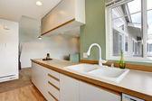 Boş evde basit nane mutfak iç — Stok fotoğraf