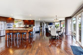 Spacious luxury kitchen room and dining area — Photo