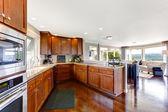Przestronny, luksusowy pokój kuchnia — Zdjęcie stockowe