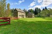 Countryside house exterior with landscape. Backyard view — Stock Photo