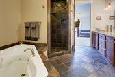 Modern bathroom interior with tile shower trim — Stock Photo