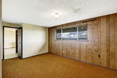 Empty room with wood plank paneled wall and view of Gig Harbor b — Stock Photo