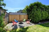House backyard with rest area — Zdjęcie stockowe