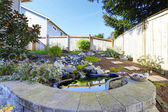 Home garden with small pond — Stock Photo