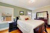 Camera da letto aqua tono con mobili in legno — Foto Stock