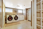 Laundry room interior in grey color — Stock Photo