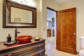 Luxury bathroom vanity cabinet with vessel sink — Stock Photo