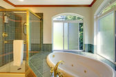 Large bathroom with jacuzzi, — Stock Photo