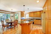 Large traditional wood golden kitchen. — Foto de Stock