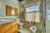 Light tone bathroom with bidet — Stock Photo