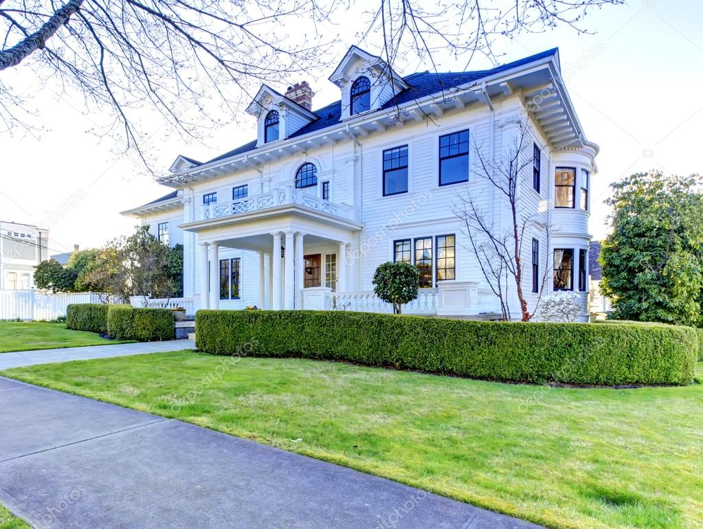 luxe amerikaans huis met beteugelen beroep stockfoto iriana88w 50488521. Black Bedroom Furniture Sets. Home Design Ideas