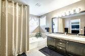 浴室内有黑色的内阁和大镜 — 图库照片