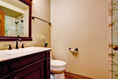 Burgundy bathroom vanity cabinet with white sink — 图库照片
