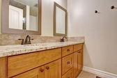 Gabinete con encimera de granito de la vanidad de baño de madera — Foto de Stock
