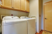 Simple bathroom interior with white appliances — Stock Photo