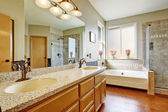 Bathroom interior with granite top cabinet — Stock Photo
