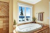 Bathroom with whirlpool bath tub and beautiful view — Stock Photo