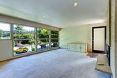 Empty house interior. Glass wall living room  — Stock Photo
