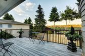 Walkout deck overlooking backyard area — Stock Photo