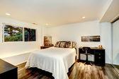 Practical bedroom interior design with office area — Стоковое фото