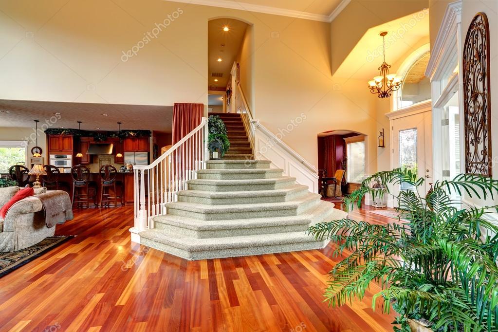 Interior de la casa de lujo hall de entrada con escalera for Escaleras entrada casa