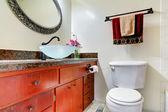 Bathroom vanity cabinet with vessel sink — Стоковое фото