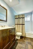 Bathroom with brown tile floor and light blue walls — Foto Stock
