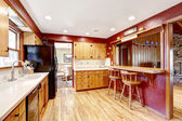 Contrast colors kitchen room with open wall — Stok fotoğraf