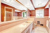 Bathroom with red and creamy wall trim — Stok fotoğraf