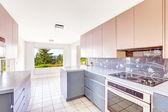 Cocina comedor con combinación de almacenamiento azul y rosa — Foto de Stock