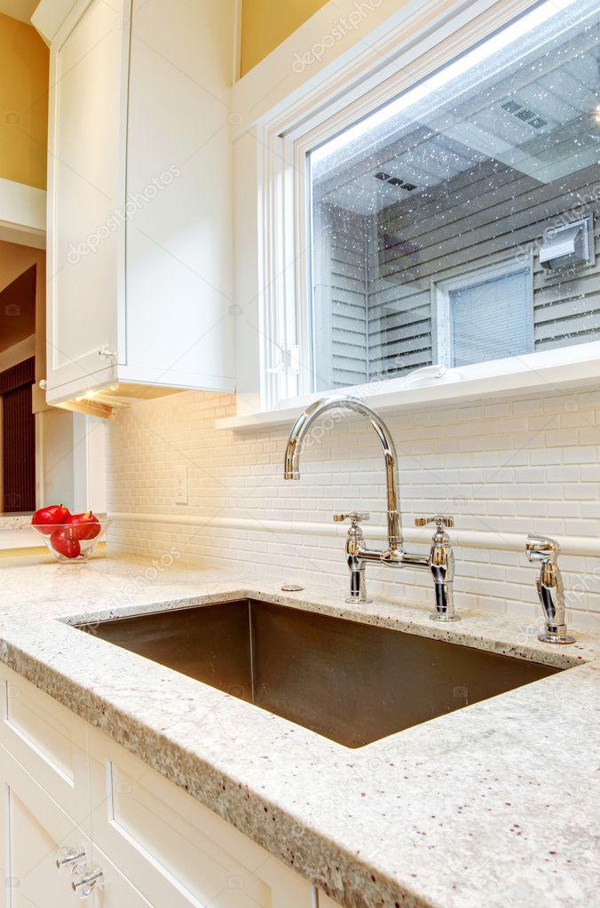 Large Deep Kitchen Sink : Large deep metal kitchen sink with granite countertops. ? Stock ...