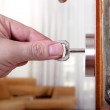 Stock Photo: Locking or unlocking door