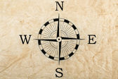 Compass on creased paper — Stock Photo