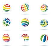 Iconos multicolor mundo abstracto — Vector de stock