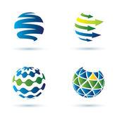 Icone del globo astratto — Vettoriale Stock