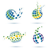 Abstract globe set of icons — Stock Vector