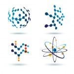化学およびソーシャル ネットワーク概念、抽象的なアイコンのセット — ストックベクタ