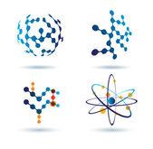 Ensemble d'icônes abstraites, concept chimique et réseaux sociaux — Vecteur