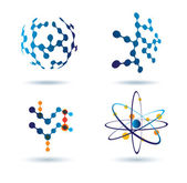 Set of abstract icons, chemical and social networks concept — Vector de stock