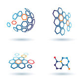 Hexagonal abstract icons, business and communication concepts — Διανυσματικό Αρχείο