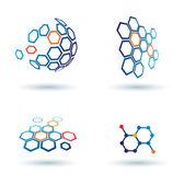 Zeshoekige abstracte icons, business en communicatie concepten — Stockvector