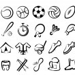 Stock Vector: Sports equipment icons set