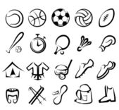 Sports equipment icons set — Stock Vector