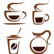Vector set of coffee cups icons - Stock Vector