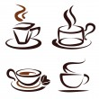 Vector set of coffee cups icons — Stock Vector