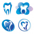 Set of tooth stylized icons - Stok Vektör