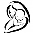 Mother and baby vector silhouette - Vettoriali Stock 