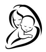 Madre y bebé vector silueta — Vector de stock